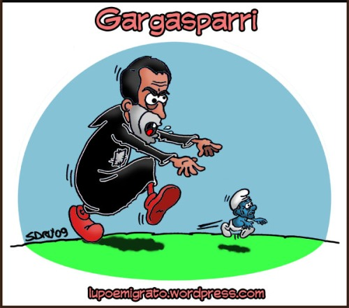 Gargasparri: vignetta Gasparri, gargamella, berlusconi puffo, satira